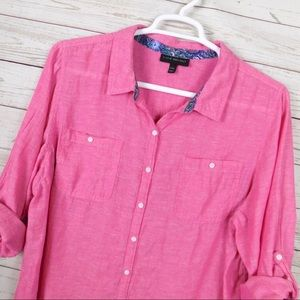 Lane Bryant Tops - Lane Bryant Pink Line Button Down Shirt 22/24 2X